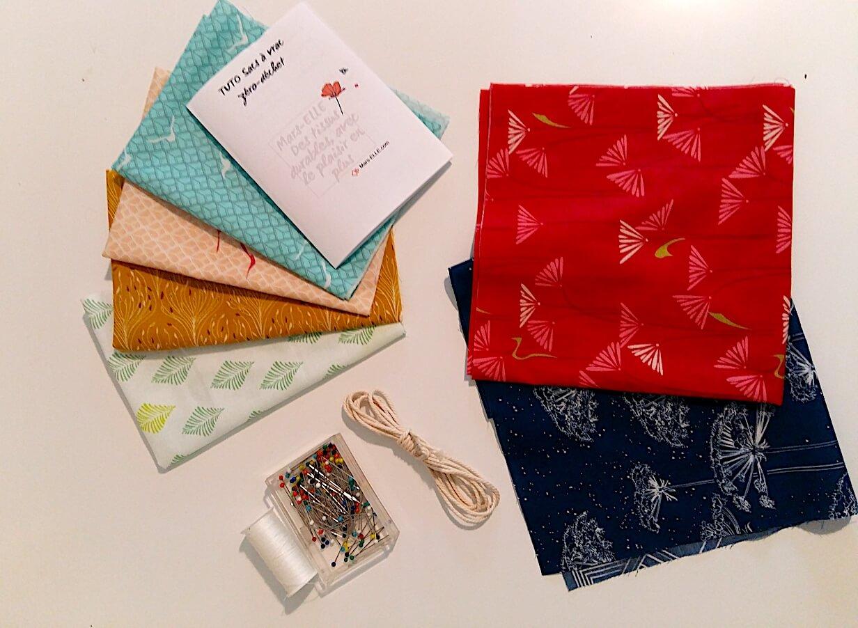 Kit couture complet Sac à vrac (tissu bio)