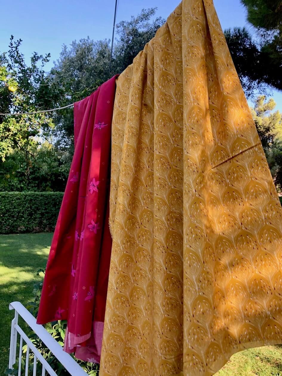 popeline coton bio GOTS Mars-ELLE liberty jaune moutarde