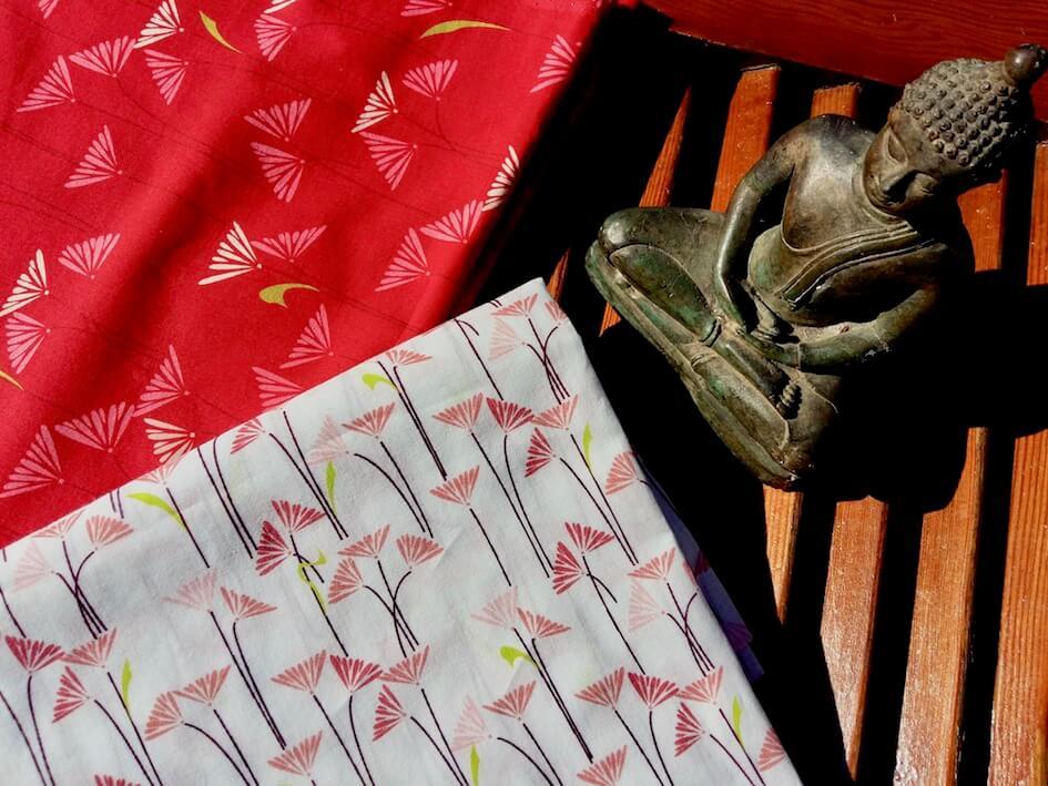 popeline coton bio GOTS liberty fleur blanche rose rouge Mars-ELLE