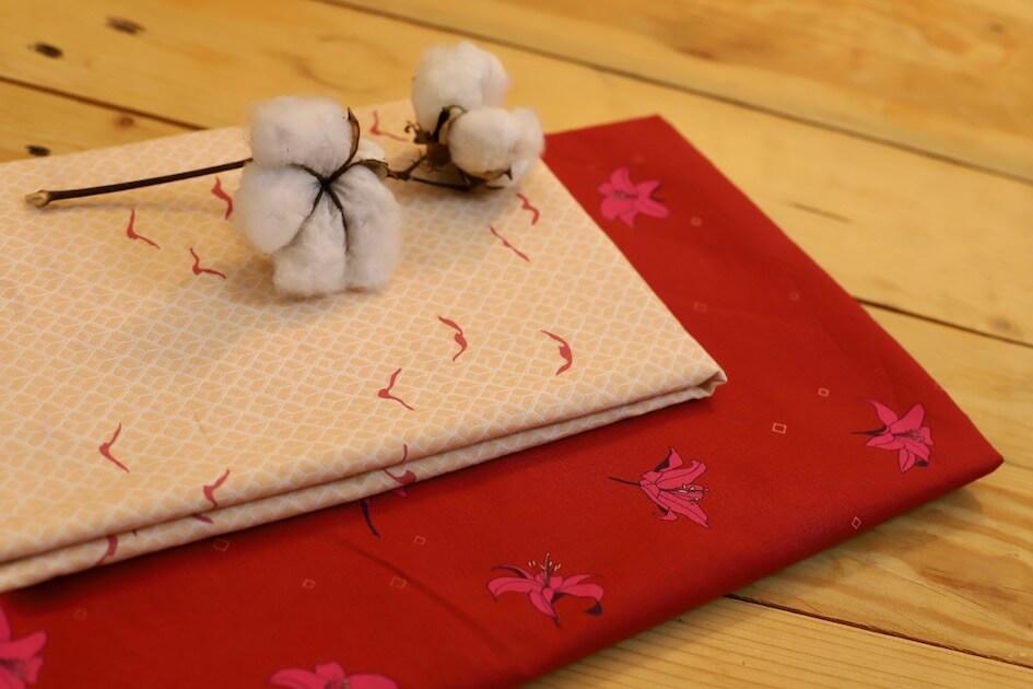 Tissu popeline coton bio GOTS fleur liberty rouge bordeaux Mars-ELLE
