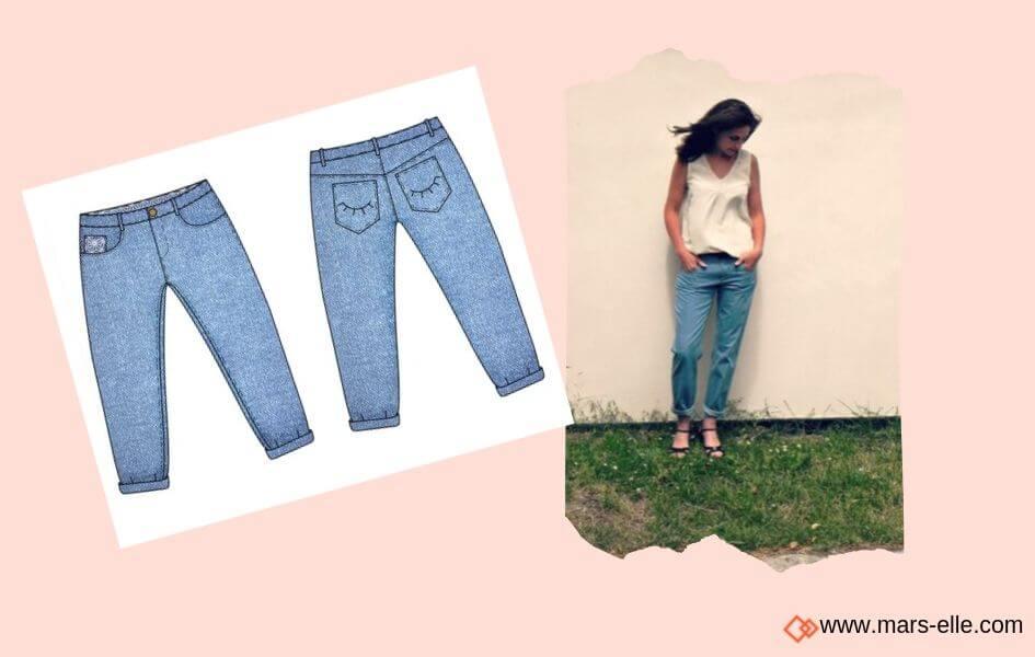patron couture jeans popcorn blousette rose de Jeans brut sans élasthanne denim 100% coton tissu non-stretch