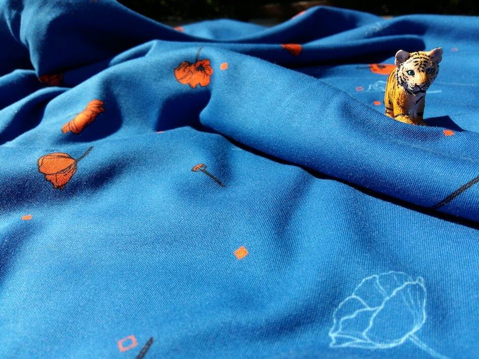 jersey bio coquelicot bleu interlock coton biologique mars-elle
