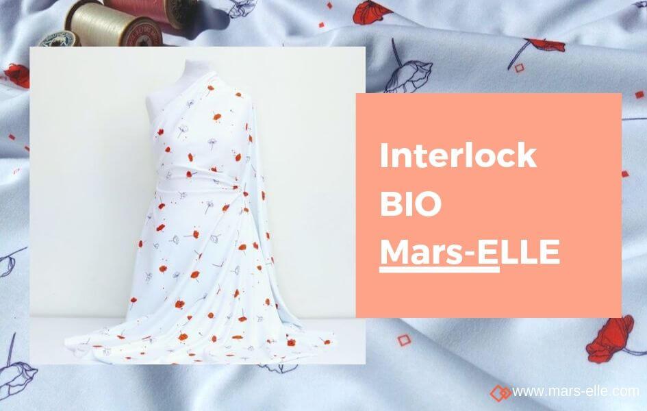 jersey biologique coton interlock imprimé coquelicot mars-elle