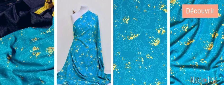 jersey coton bio interlock imprimé bleu canard mars-elle