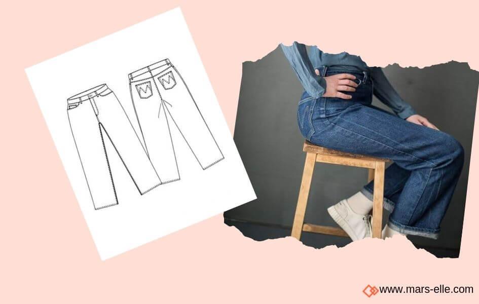 patron jeans merchant and mills patrons de Jeans brut sans élasthanne denim 100% coton tissu non-stretch