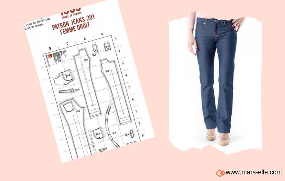 patron jeans gratuit 1083 patrons de Jeans brut sans élasthanne denim 100% coton tissu non-stretch