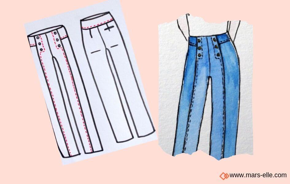 patron jeans maison fauve patrons de Jeans brut sans élasthanne denim 100% coton tissu non-stretch