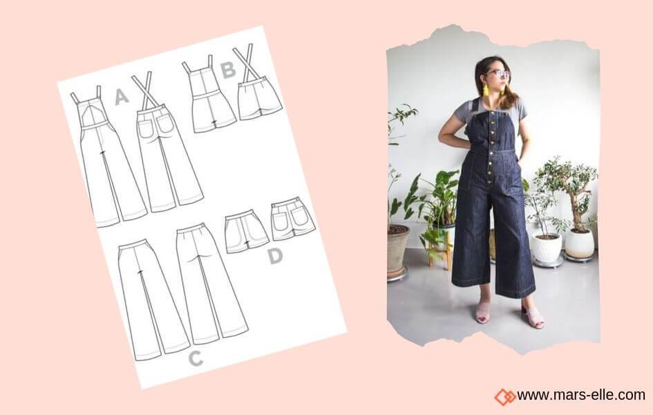 patron salopette closet case pattern patrons de Jeans brut sans élasthanne denim 100% coton tissu non-stretch