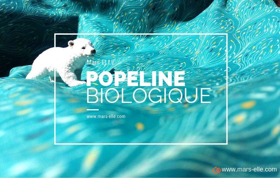 popeline biologique tissu imprimé bleu canard mars-elle