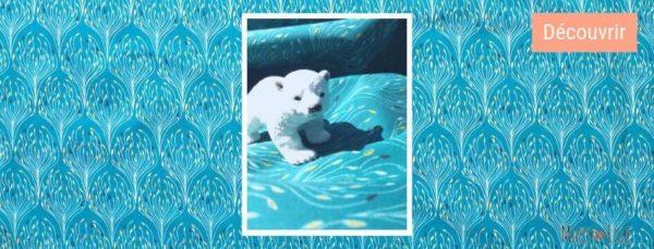 popeline imprimé bleu canard tissu bio mars-elle