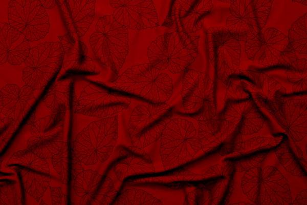 tissu bio jersey interlock coton biologique imprimé feuille bordeaux Mars-ELLE