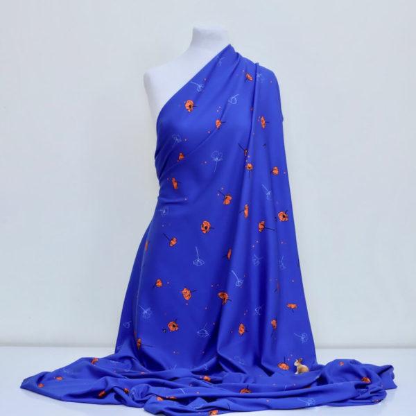 tissu bio jersey interlock coton imprimé coquelicot bleu Mars-ELLE