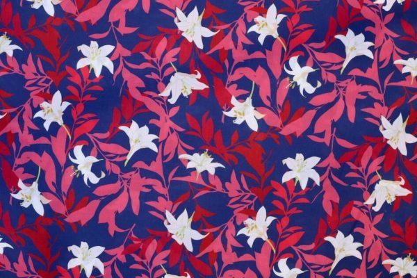 tissu bio popeline coton imprimé fleur bordeaux Mars-ELLE.jpg