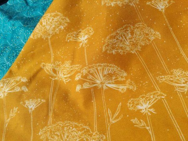 tissu bio popeline imprimé bordure ombelles jaune moutarde Mars-ELLE coton biologique