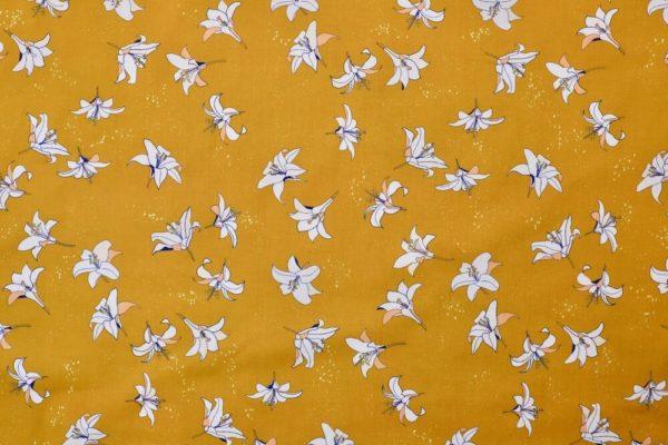 tissu bio popeline imprimé coton biologique fleur jaune moutarde Mars-ELLE
