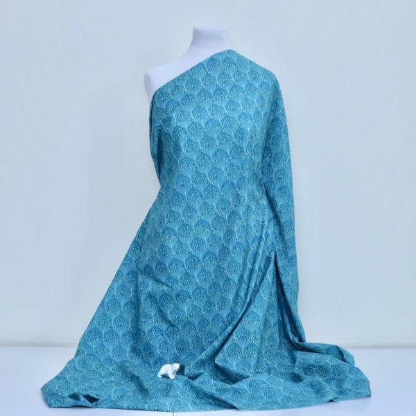 tissu bio popeline imprimé coton biologique paon bleu canard Mars-ELLE