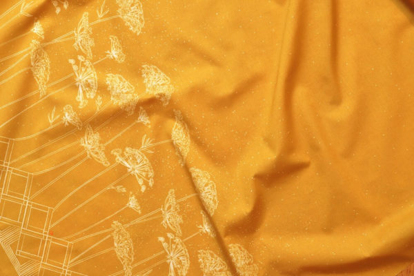 tissu bio popeline imprimé coton ombelle jaune moutarde Mars-ELLE