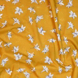 tissu bio popeline imprimé fleur jaune moutarde Mars-ELLE