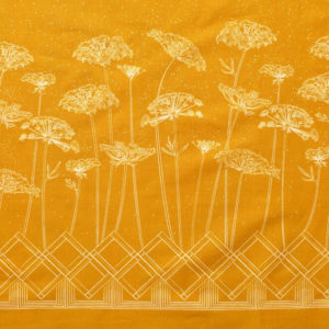 tissu bio popeline imprimé fleur ombelle jaune moutarde Mars-ELLE