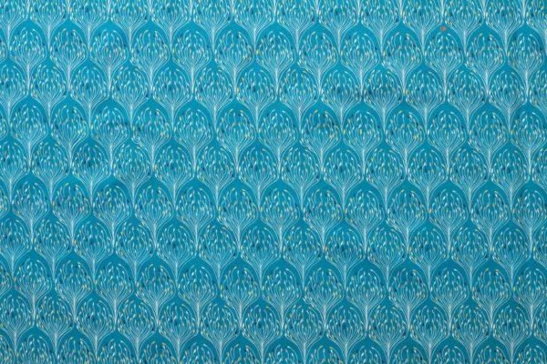 tissu bio popeline imprimé paon bleu canard Mars-ELLE