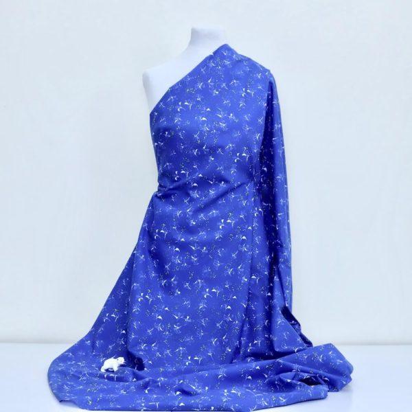 tissu bio popeline imprimée lys bleu fleur Mars-ELLE