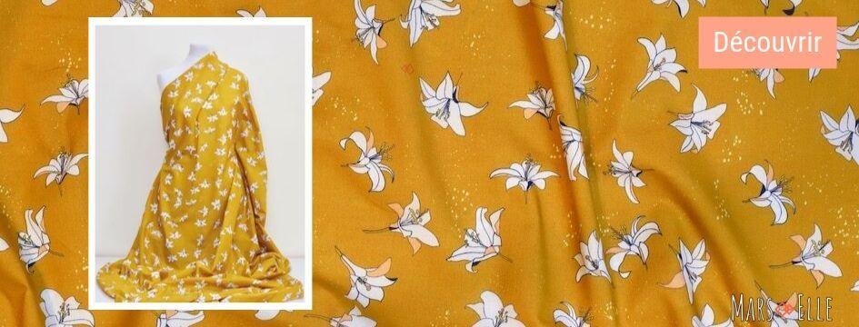 tissu jaune moutarde popeline bio imprimé mars-elle
