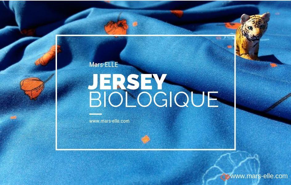 jersey bio interlock coton coquelicot rouge et bleu mars-ELLE
