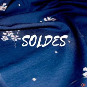 jersey bio tissu bleu marine fleur