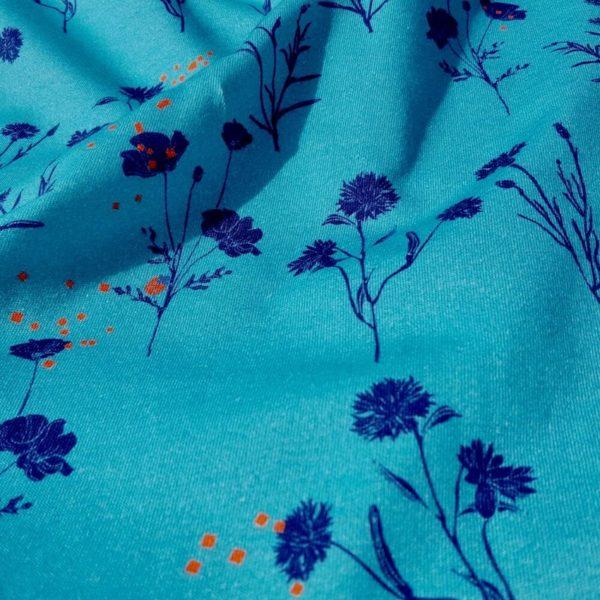tissu bio bleu jersey Mars-ELLE