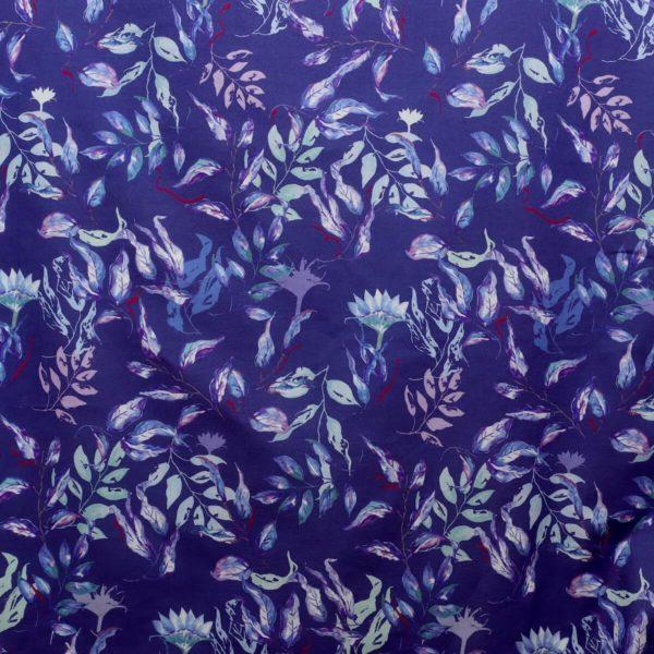 tissu bio imprimé bleu voile coton