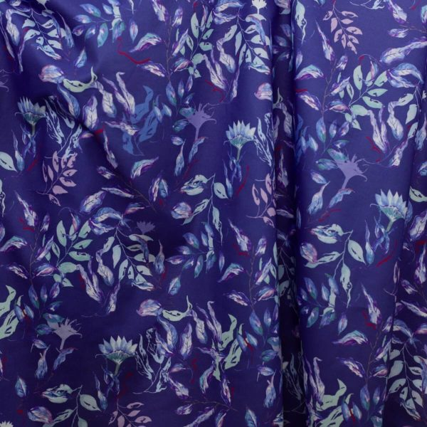 tissu bio motif bleu voile coton