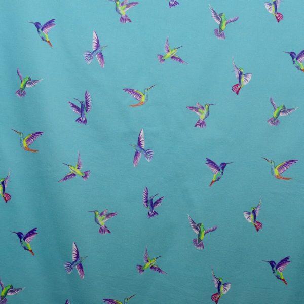 tissu bio imprimé voile coton bleu