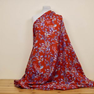 tissu bio motif ocre rouge voile coton