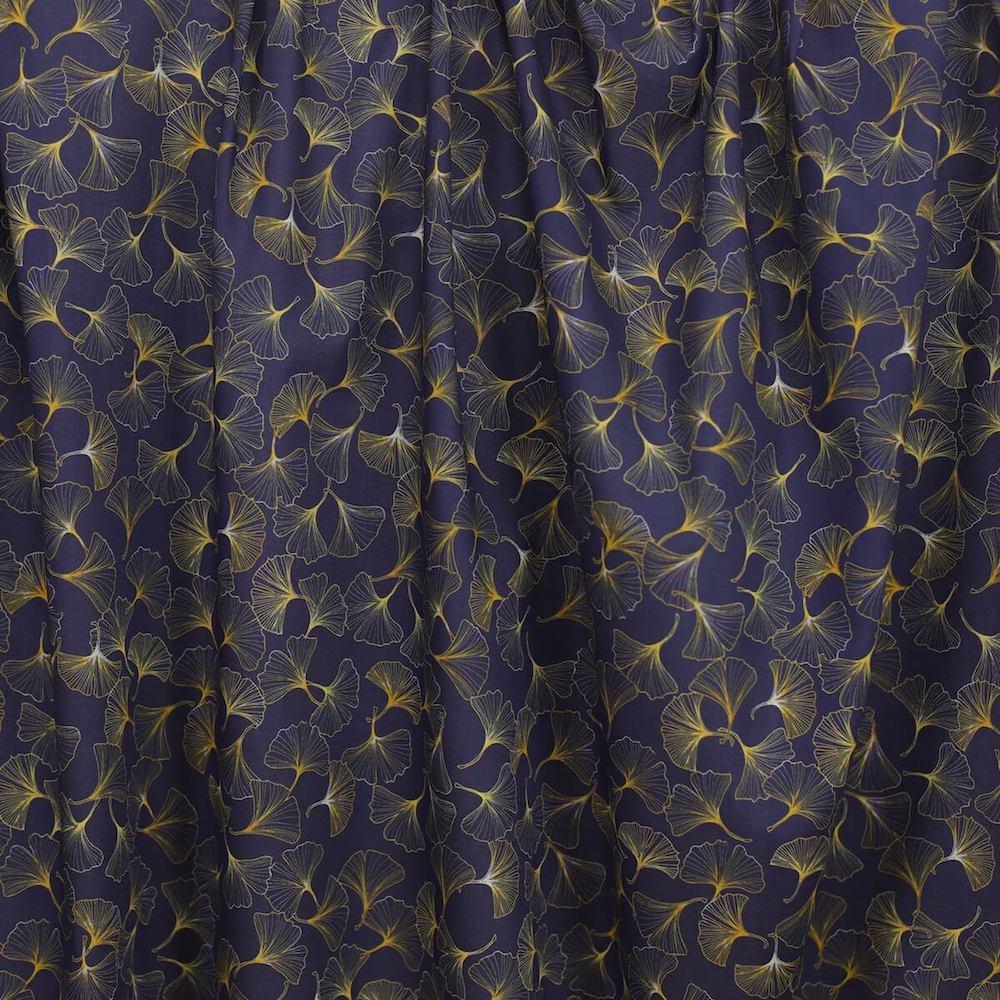tissu bio Ginkgo bleu nuit