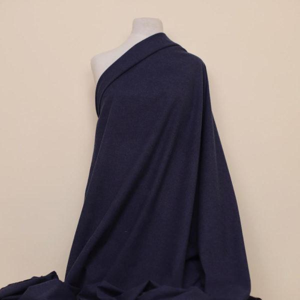 tissu bio flanelle coton bleu foncée