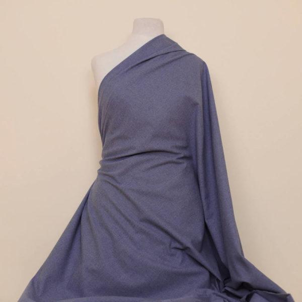 tissu bio flanelle coton bleu gris
