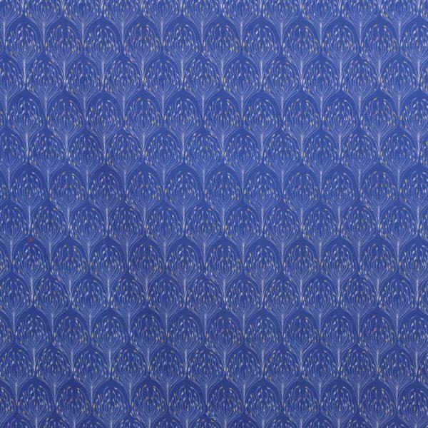 tissu bio paon bleu classique