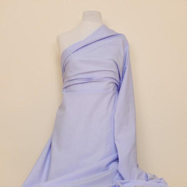 tissu bio popeline coton fine ligne bleu clair