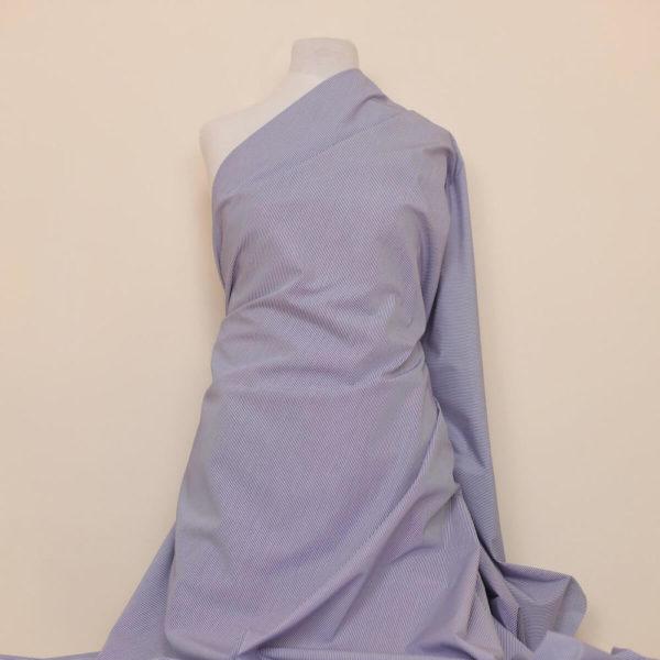 tissu bio popeline coton ligne bleu foncée