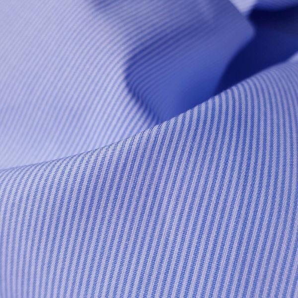 tissu bio popeline fine ligne bleu clair