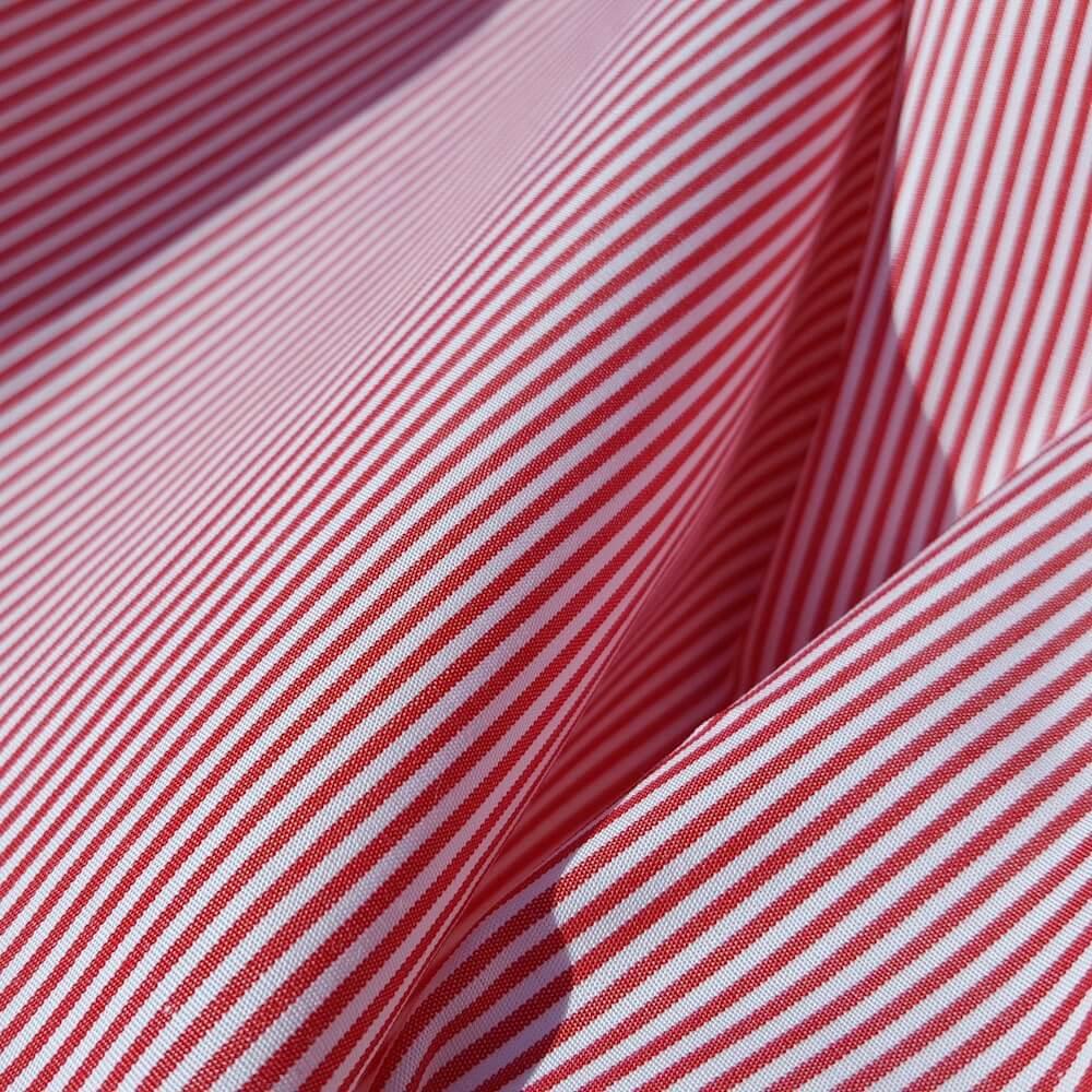 tissu bio popeline ligne rouge