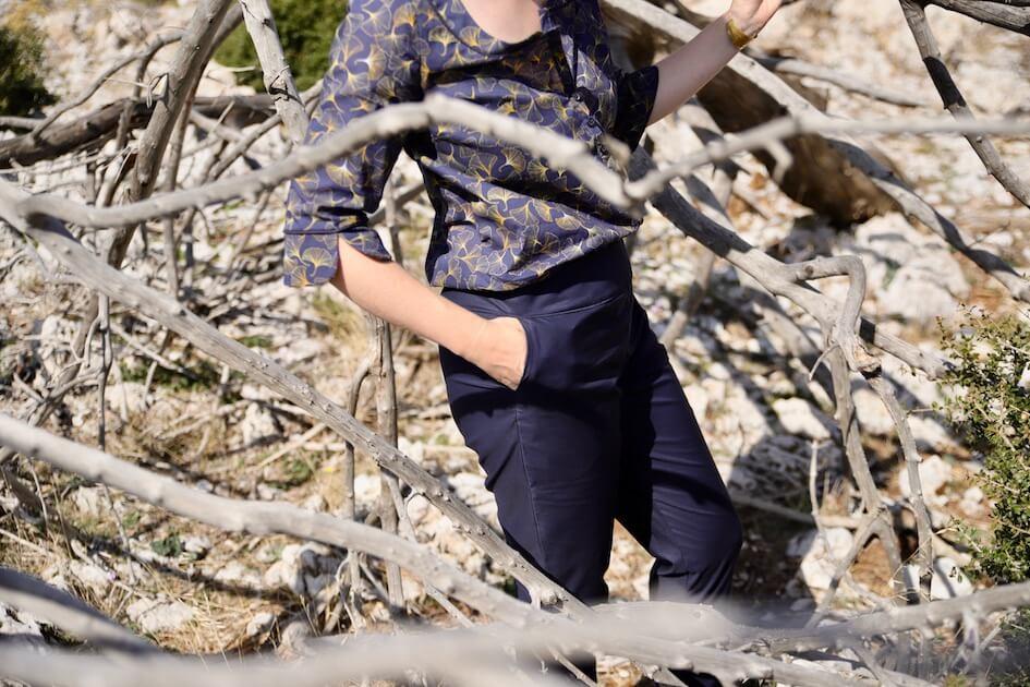 tissu bio pantalon bleu mars-elle