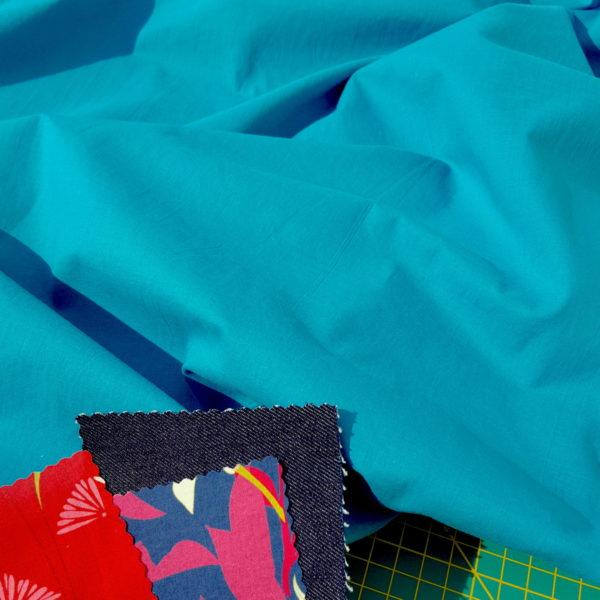 tissu bio popeline bleu mars-elle