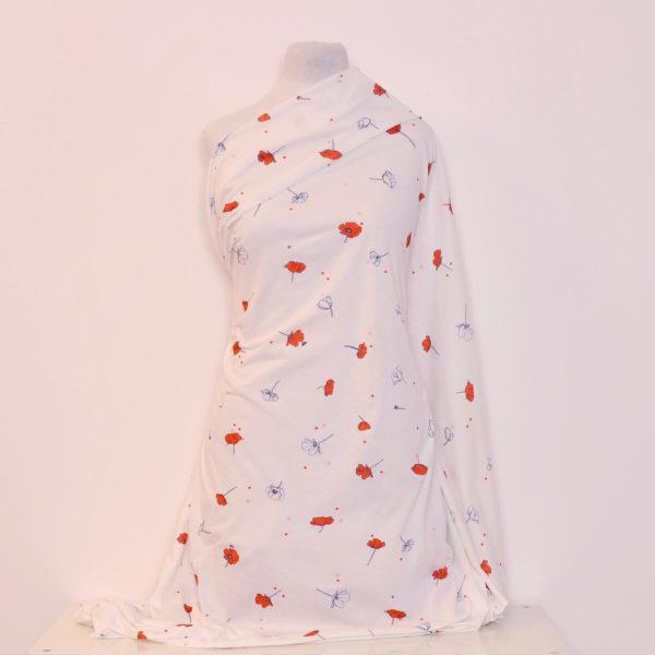 jersey bio coquelicot coton imprimé Mars-Elle