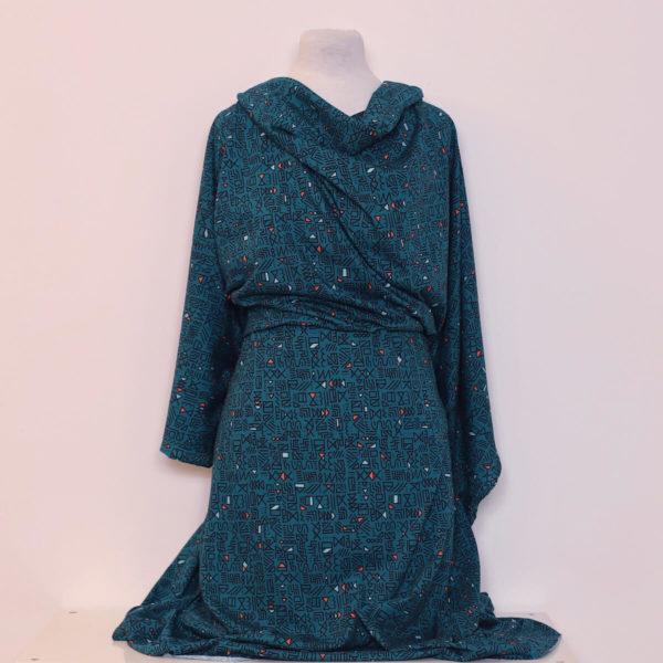jersey bio vert coton Mars-Elle imprimé