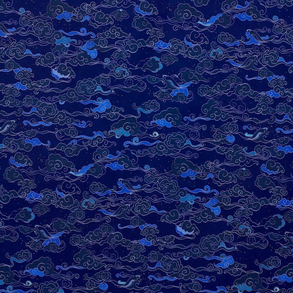 tissu bio bleu popeline Mars-Elle