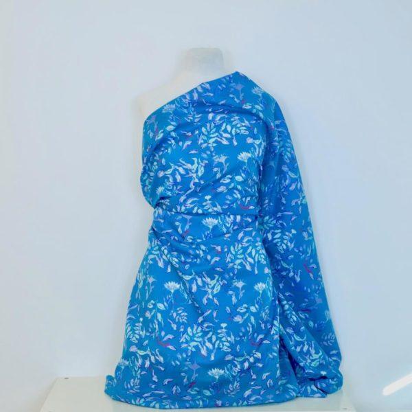 tissu bio feuille bleu vert