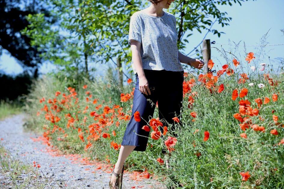 patron couture pantalon chambray indigo